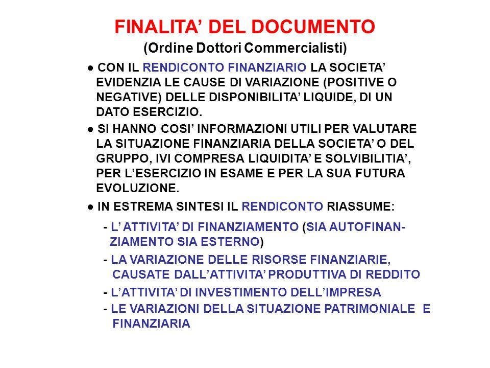 FINALITA' (….segue) ● CON IL RENDICONTO FINANZIARIO E' POSSIBILE: 1.