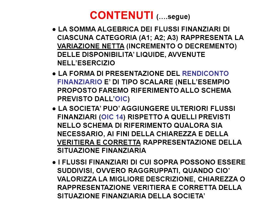 CONTENUTI (….segue) ● LA SOMMA ALGEBRICA DEI FLUSSI FINANZIARI DI CIASCUNA CATEGORIA (A1; A2; A3) RAPPRESENTA LA VARIAZIONE NETTA (INCREMENTO O DECREMENTO) DELLE DISPONIBILITA' LIQUIDE, AVVENUTE NELL'ESERCIZIO ● LA FORMA DI PRESENTAZIONE DEL RENDICONTO FINANZIARIO E' DI TIPO SCALARE (NELL'ESEMPIO PROPOSTO FAREMO RIFERIMENTO ALLO SCHEMA PREVISTO DALL'OIC) ● LA SOCIETA' PUO' AGGIUNGERE ULTERIORI FLUSSI FINANZIARI (OIC 14) RISPETTO A QUELLI PREVISTI NELLO SCHEMA DI RIFERIMENTO QUALORA SIA NECESSARIO, AI FINI DELLA CHIAREZZA E DELLA VERITIERA E CORRETTA RAPPRESENTAZIONE DELLA SITUAZIONE FINANZIARIA ● I FLUSSI FINANZIARI DI CUI SOPRA POSSONO ESSERE SUDDIVISI, OVVERO RAGGRUPPATI, QUANDO CIO' VALORIZZA LA MIGLIORE DESCRIZIONE, CHIAREZZA O RAPPRESENTAZIONE VERITIERA E CORRETTA DELLA SITUAZIONE FINANZIARIA DELLA SOCIETA'