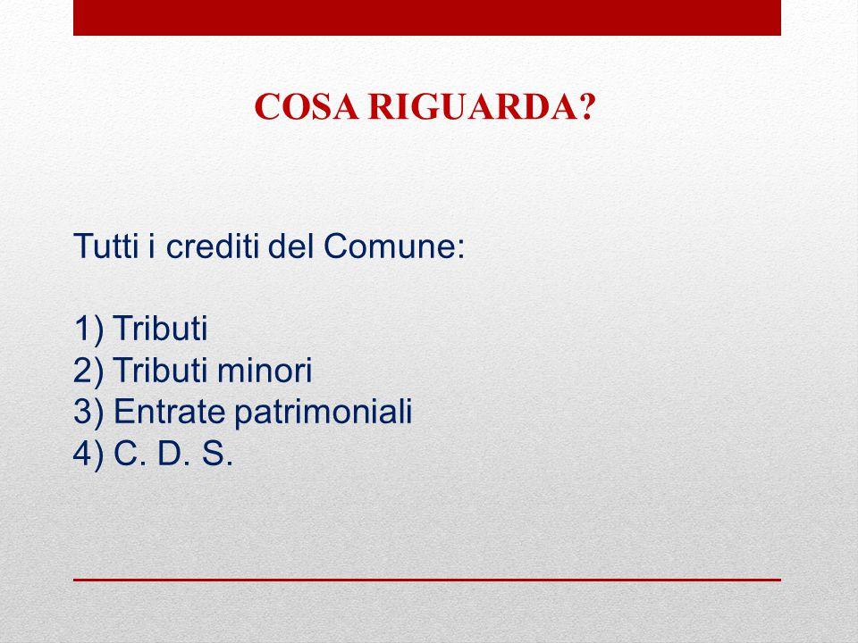 Tutti i crediti del Comune: 1) Tributi 2) Tributi minori 3) Entrate patrimoniali 4) C.