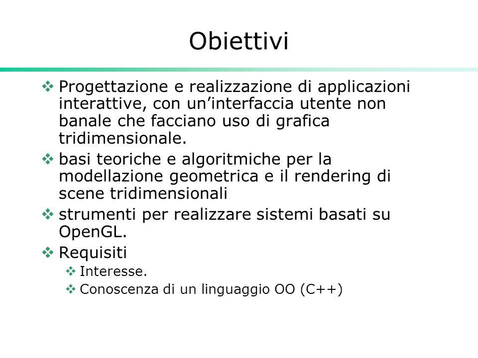 Obiettivi  Progettazione e realizzazione di applicazioni interattive, con un'interfaccia utente non banale che facciano uso di grafica tridimensionale.