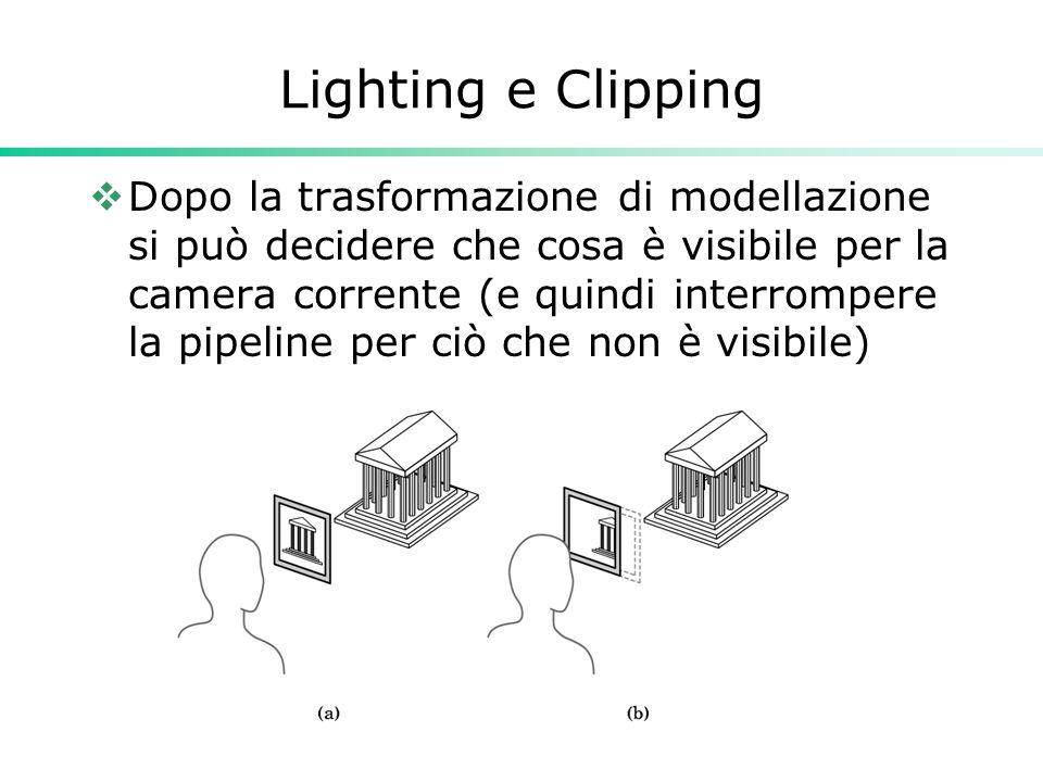 Lighting e Clipping  Dopo la trasformazione di modellazione si può decidere che cosa è visibile per la camera corrente (e quindi interrompere la pipeline per ciò che non è visibile)