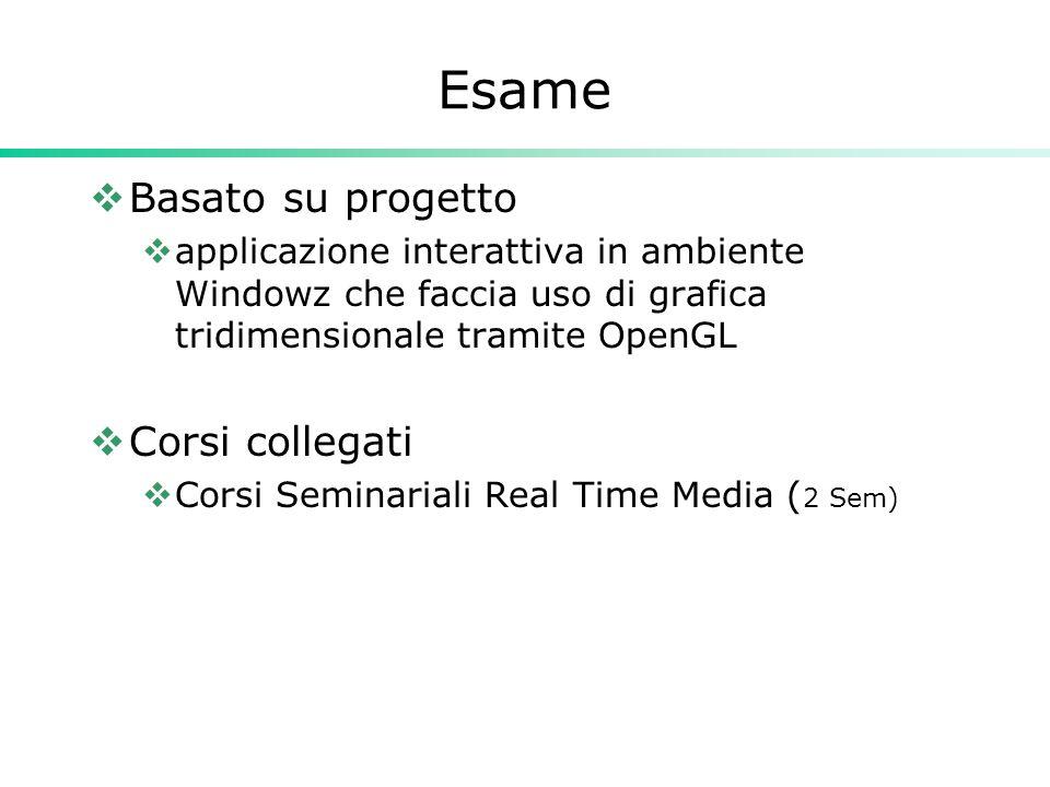 Esame  Basato su progetto  applicazione interattiva in ambiente Windowz che faccia uso di grafica tridimensionale tramite OpenGL  Corsi collegati  Corsi Seminariali Real Time Media ( 2 Sem)