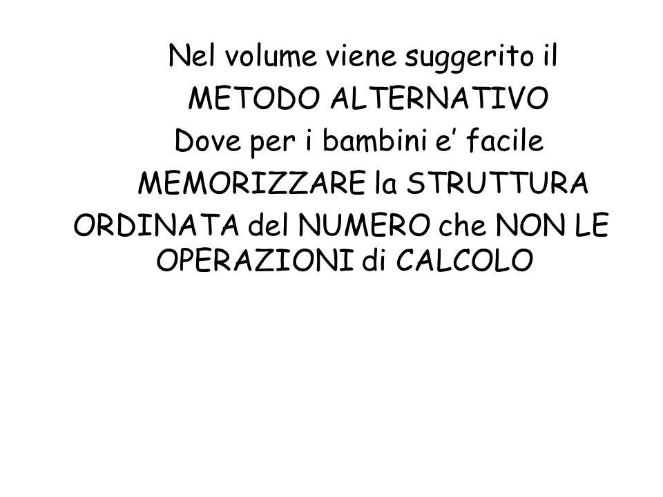 Nel volume viene suggerito il METODO ALTERNATIVO Dove per i bambini e' facile MEMORIZZARE la STRUTTURA ORDINATA del NUMERO che NON LE OPERAZIONI di CALCOLO