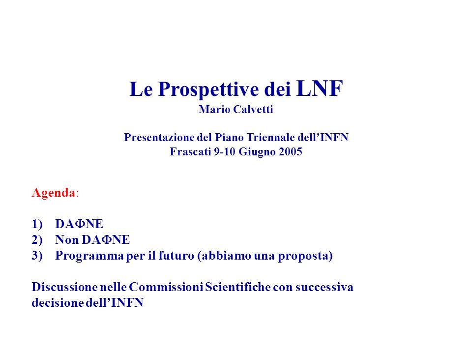 Le Prospettive dei LNF Mario Calvetti Presentazione del Piano Triennale dell'INFN Frascati 9-10 Giugno 2005 Agenda: 1)DA  NE 2)Non DA  NE 3)Programma per il futuro (abbiamo una proposta) Discussione nelle Commissioni Scientifiche con successiva decisione dell'INFN