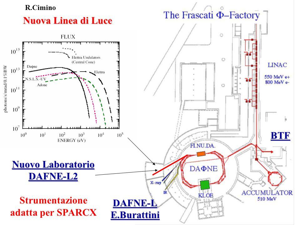 Nuova Linea di Luce Nuovo Laboratorio DAFNE-L2 Strumentazione adatta per SPARCX DAFNE-LE.Burattini BTF R.Cimino