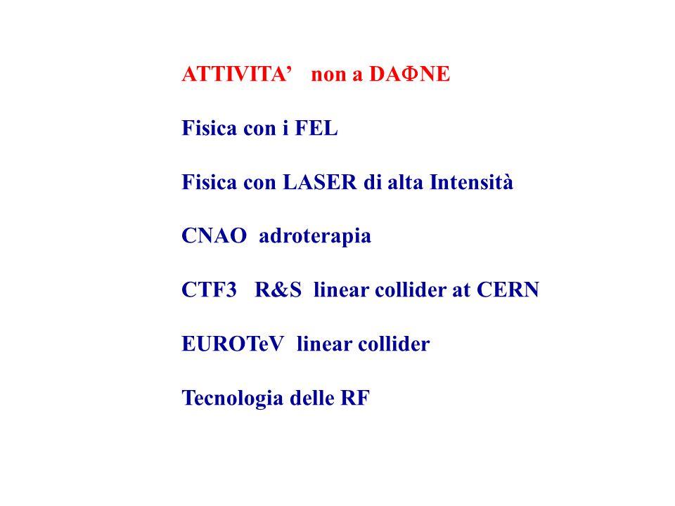 ATTIVITA' non a DA  NE Fisica con i FEL Fisica con LASER di alta Intensità CNAO adroterapia CTF3 R&S linear collider at CERN EUROTeV linear collider