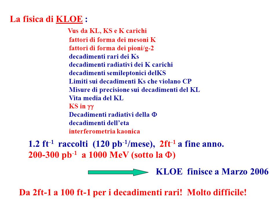 La fisica di KLOE : Vus da KL, KS e K carichi fattori di forma dei mesoni K fattori di forma dei pioni/g-2 decadimenti rari dei Ks decadimenti radiati