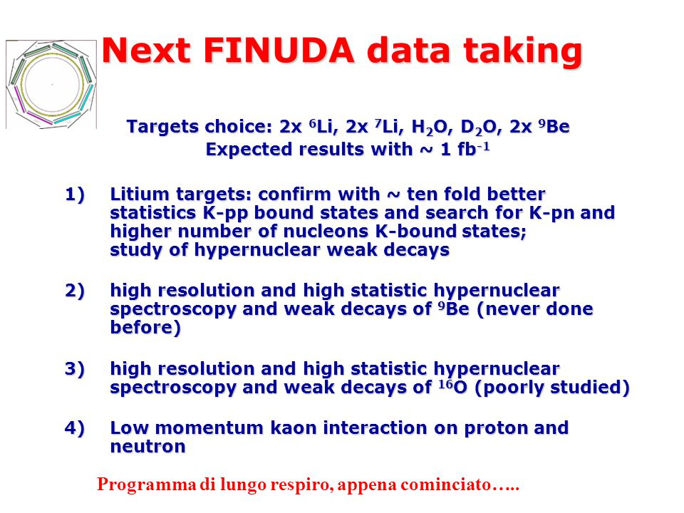 Next FINUDA data taking Targets choice: 2x 6 Li, 2x 7 Li, H 2 O, D 2 O, 2x 9 Be Expected results with ~ 1 fb -1 1)Litium targets: confirm with ~ ten fold better statistics K-pp bound states and search for K-pn and higher number of nucleons K-bound states; study of hypernuclear weak decays 2)high resolution and high statistic hypernuclear spectroscopy and weak decays of 9 Be (never done before) 3)high resolution and high statistic hypernuclear spectroscopy and weak decays of 16 O (poorly studied) 4)Low momentum kaon interaction on proton and neutron Programma di lungo respiro, appena cominciato…..