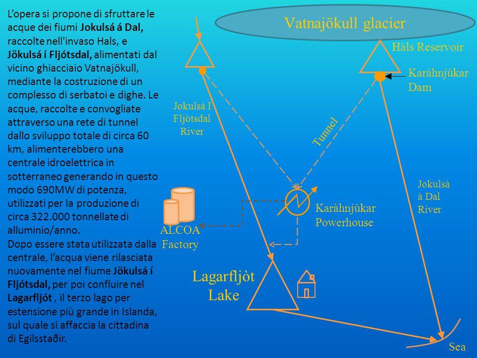 L'opera si propone di sfruttare le acque dei fiumi Jokulsá á Dal, raccolte nell'invaso Hals, e Jökulsá í Fljótsdal, alimentati dal vicino ghiacciaio V