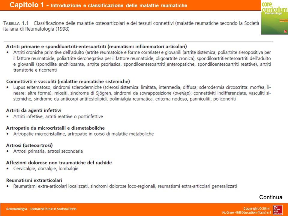 Copyright © 2014 McGraw-Hill Education (Italy) srl Capitolo 1 - Introduzione e classificazione delle malattie reumatiche Reumatologia – Leonardo Punzi e Andrea Doria Segue