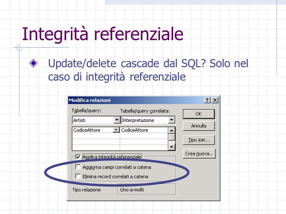 Integrità referenziale Update/delete cascade dal SQL Solo nel caso di integrità referenziale