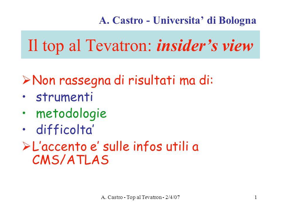 A. Castro - Top al Tevatron - 2/4/071 Il top al Tevatron: insider's view  Non rassegna di risultati ma di: strumenti metodologie difficolta'  L'acce