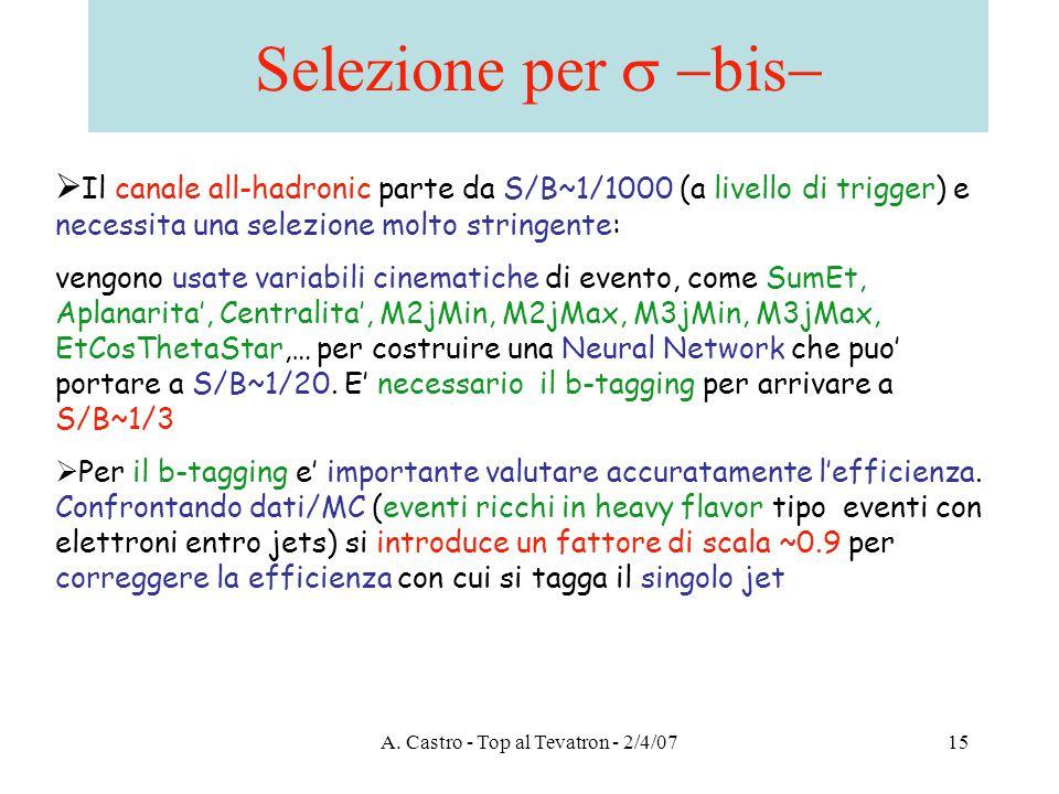 A. Castro - Top al Tevatron - 2/4/0715 Selezione per  bis   Il canale all-hadronic parte da S/B~1/1000 (a livello di trigger) e necessita una sel
