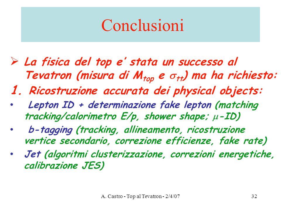 A. Castro - Top al Tevatron - 2/4/0732 Conclusioni  La fisica del top e' stata un successo al Tevatron (misura di M top e  tt ) ma ha richiesto: 1.