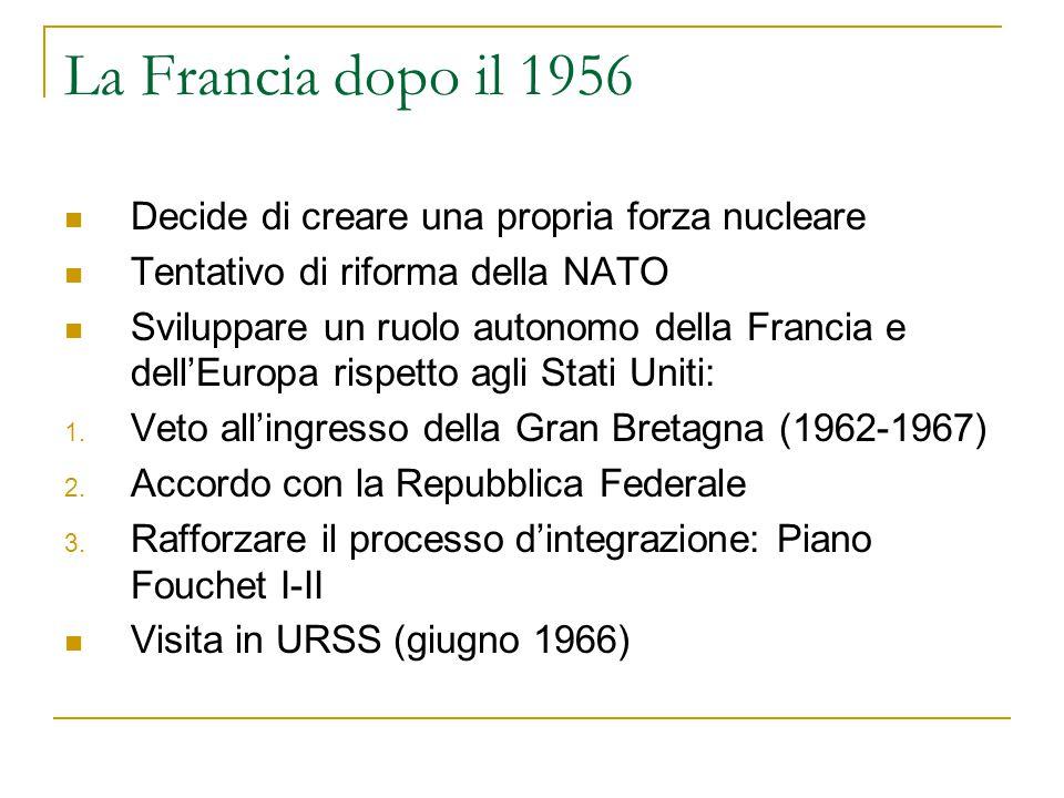 La Francia dopo il 1956 Decide di creare una propria forza nucleare Tentativo di riforma della NATO Sviluppare un ruolo autonomo della Francia e dell'Europa rispetto agli Stati Uniti: 1.