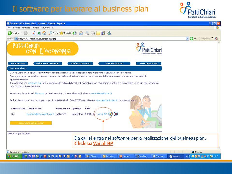 Il software per lavorare al business plan Da qui si entra nel software per la realizzazione del business plan.