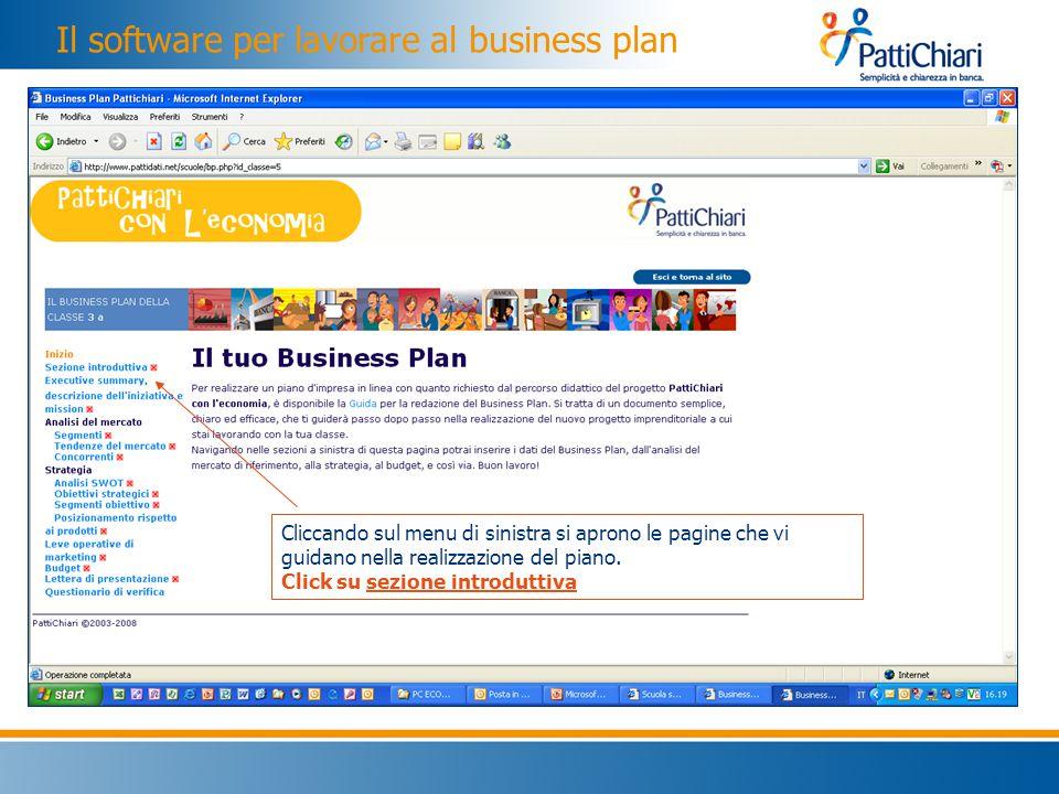 Il software per lavorare al business plan Cliccando sul menu di sinistra si aprono le pagine che vi guidano nella realizzazione del piano.