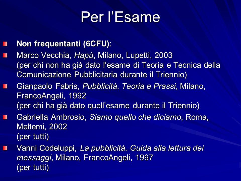 Per l'Esame Non frequentanti (6CFU): Marco Vecchia, Hapù, Milano, Lupetti, 2003 (per chi non ha già dato l'esame di Teoria e Tecnica della Comunicazio