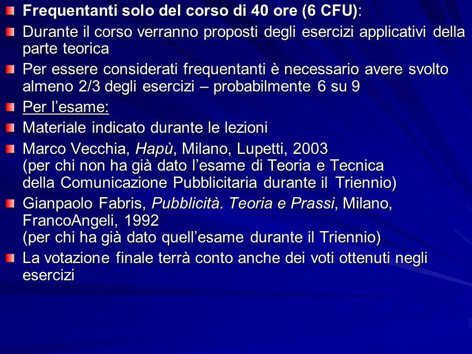 Frequentanti solo del corso di 40 ore (6 CFU): Durante il corso verranno proposti degli esercizi applicativi della parte teorica Per essere considerat