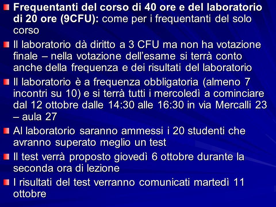 Frequentanti del corso di 40 ore e del laboratorio di 20 ore (9CFU): come per i frequentanti del solo corso Il laboratorio dà diritto a 3 CFU ma non h