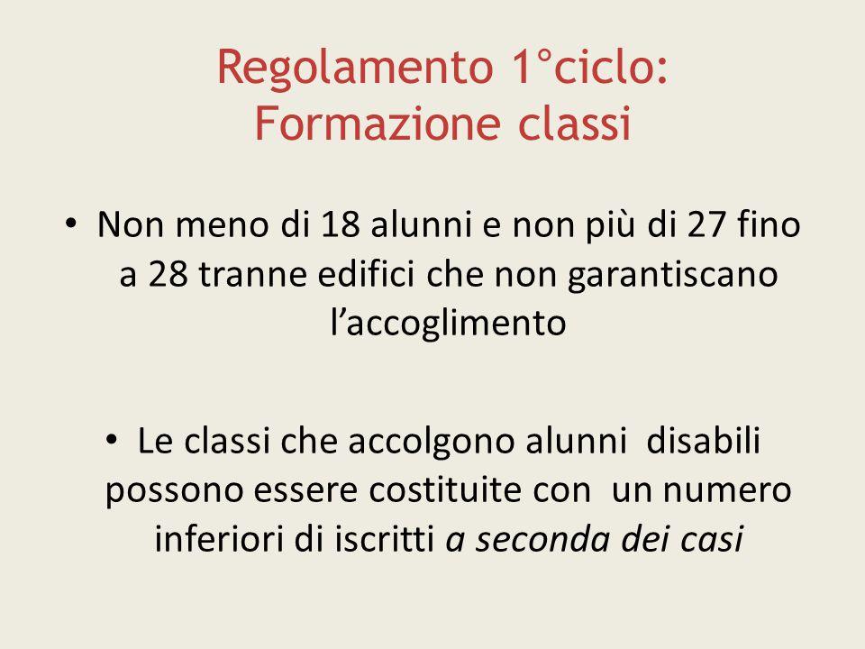 Regolamento 1°ciclo: Formazione classi Non meno di 18 alunni e non più di 27 fino a 28 tranne edifici che non garantiscano l'accoglimento Le classi ch