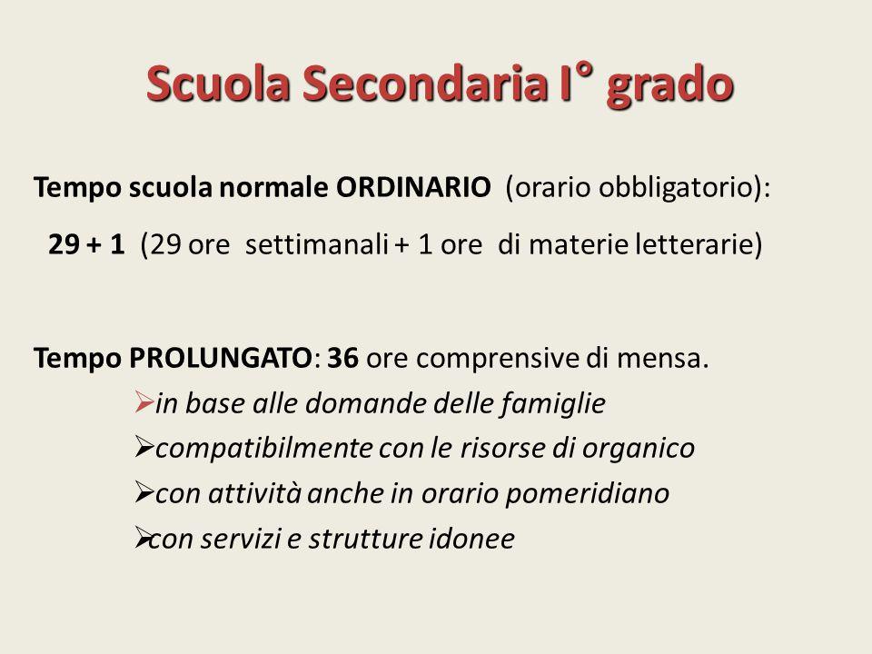 Scuola Secondaria I° grado Tempo scuola normale ORDINARIO (orario obbligatorio): 29 + 1 (29 ore settimanali + 1 ore di materie letterarie) Tempo PROLU