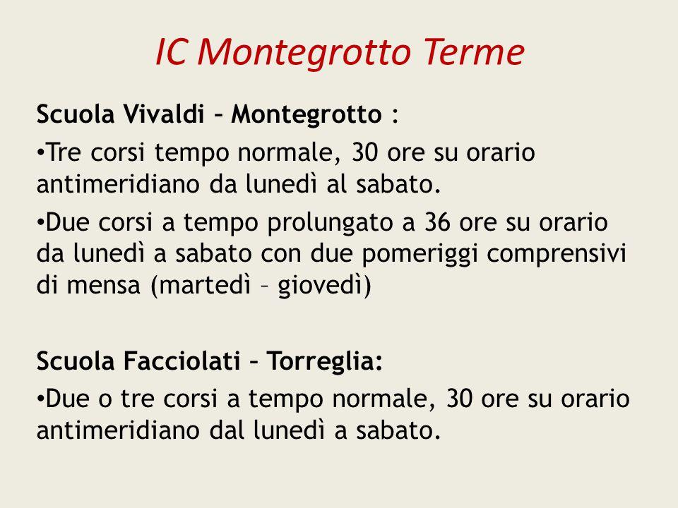 IC Montegrotto Terme Scuola Vivaldi – Montegrotto : Tre corsi tempo normale, 30 ore su orario antimeridiano da lunedì al sabato. Due corsi a tempo pro