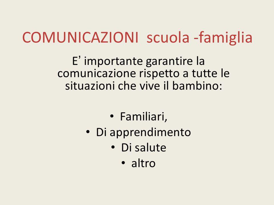 COMUNICAZIONI scuola -famiglia E' importante garantire la comunicazione rispetto a tutte le situazioni che vive il bambino: Familiari, Di apprendiment