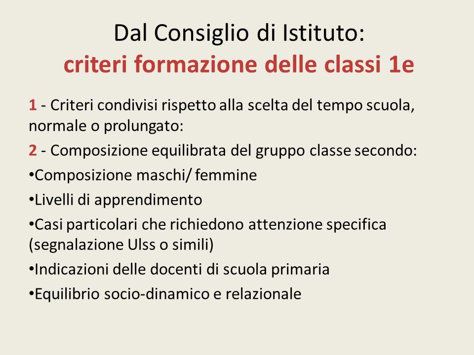Dal Consiglio di Istituto: criteri formazione delle classi 1e 1 - Criteri condivisi rispetto alla scelta del tempo scuola, normale o prolungato: 2 - C