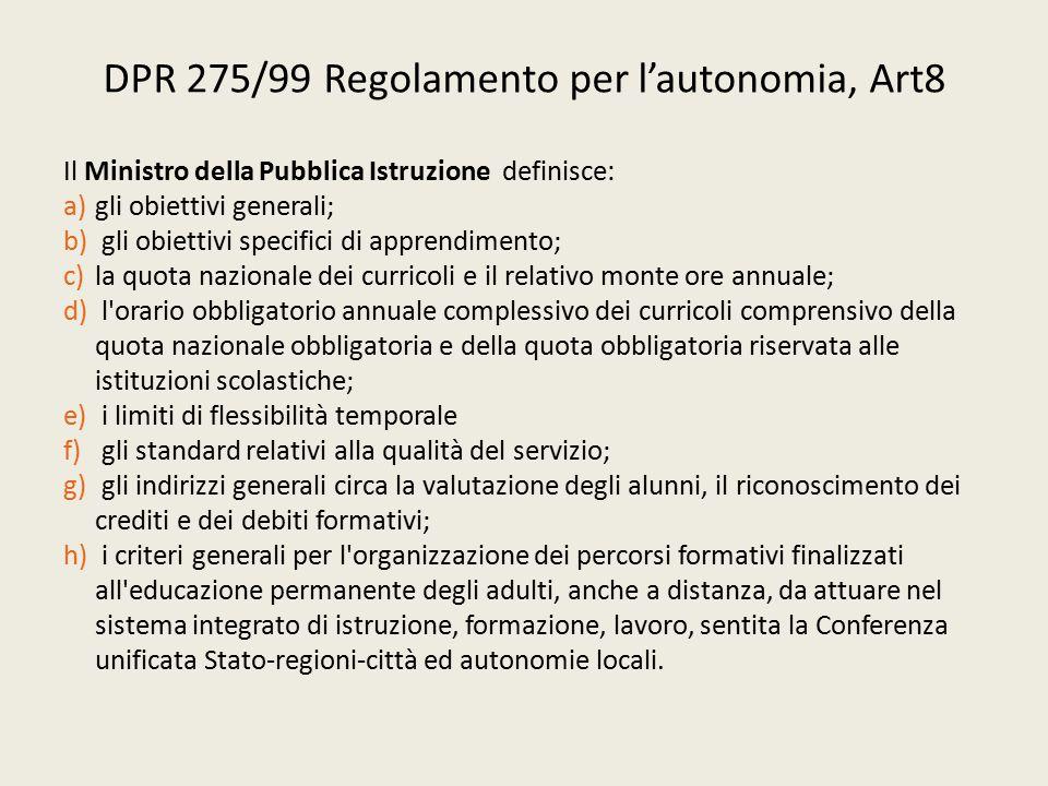 DPR 275/99 Regolamento per l'autonomia, Art8 Il Ministro della Pubblica Istruzione definisce: a)gli obiettivi generali; b) gli obiettivi specifici di