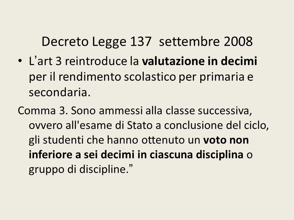 Decreto Legge 137 settembre 2008 L'art 3 reintroduce la valutazione in decimi per il rendimento scolastico per primaria e secondaria. Comma 3. Sono am
