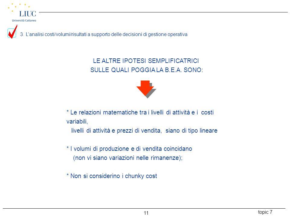 topic 7 11 LE ALTRE IPOTESI SEMPLIFICATRICI SULLE QUALI POGGIA LA B.E.A.
