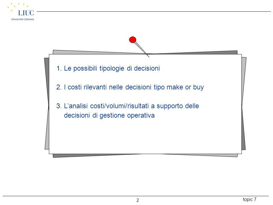 topic 7 3 LA DIVERSA RILEVANZA DELLE INFORMAZIONI DI COSTO CON RIFERIMENTO A: DECISIONISTRATEGICHE DECISIONI DI GESTIONE OPERATIVA - COSTI VARIABILI - COSTI FISSI SPECIFICI - SOLI COSTI VARIABILI O EVENTUALI COSTI FISSI CHUNKY Informazioni economiche rilevanti 1.
