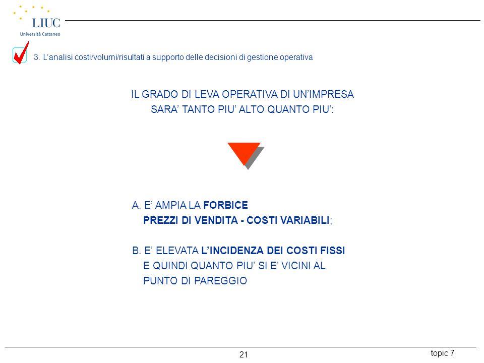 topic 7 21 IL GRADO DI LEVA OPERATIVA DI UN'IMPRESA SARA' TANTO PIU' ALTO QUANTO PIU': A.