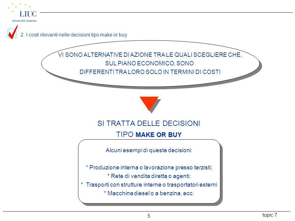 topic 7 5 VI SONO ALTERNATIVE DI AZIONE TRA LE QUALI SCEGLIERE CHE, SUL PIANO ECONOMICO, SONO DIFFERENTI TRA LORO SOLO IN TERMINI DI COSTI SI TRATTA DELLE DECISIONI MAKE OR BUY TIPO MAKE OR BUY Alcuni esempi di queste decisioni: * Produzione interna o lavorazione presso terzisti; * Rete di vendita diretta o agenti; * Trasporti con strutture interne o trasportatori esterni * Macchina diesel o a benzina, ecc.
