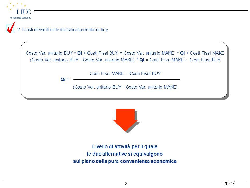 topic 7 9 BEN SI COGLIE CONSIDERANDO UN MODELLO DI ANALISI ECONOMICA DI TIPO STATICO A SUPPORTO DELLE DECISIONI OPERATIVE: BREAK EVEN ANALYSIS (B.E.A.) O COST/VOLUME PROFIT ANALYSIS (ANALISI COSTI/VOLUMI/RISULTATI) 3.
