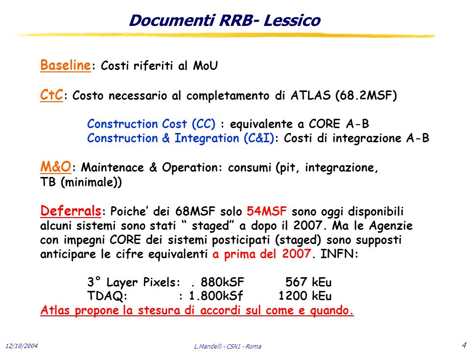 12/10/2004 L.Mandelli - CSN1 - Roma 25 Consumi nel pit Cryo system (LAr, Dewar TB, small parts) 70 Cooling (PS,FE crates )20 Mechanics ( workshops, welders) 10 Electronics ( EMS for LAr; equipments,licenses, pool (TB)) 90 DCS (calo) 10 Area (scaffolding,insurance and movements small cranes, lifts..) 50 Stores (mechanics,electronics) 45 Hired Manpower (Part time:1tech; 2 Engineers) 150 Institutes Manpower (1 tech; 1 Engineer) 125 Total570 INFN (4.79% ) 27.3 LAr MOF 205 Situazione 2004: 84/150 paid.