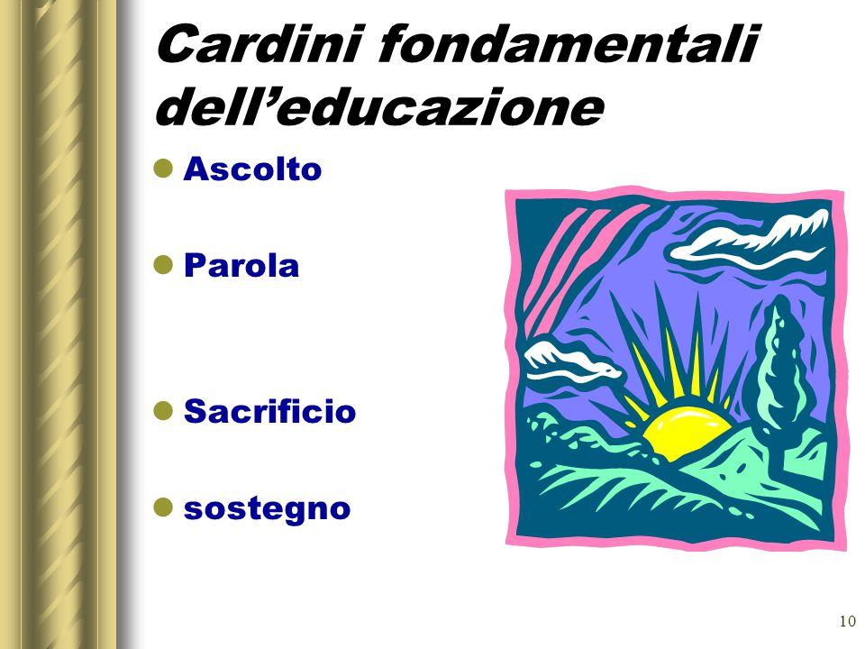 10 Cardini fondamentali dell'educazione Ascolto Parola Sacrificio sostegno