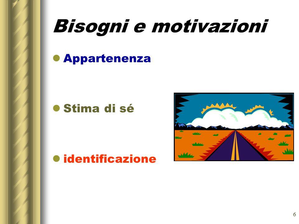 6 Bisogni e motivazioni Appartenenza Stima di sé identificazione
