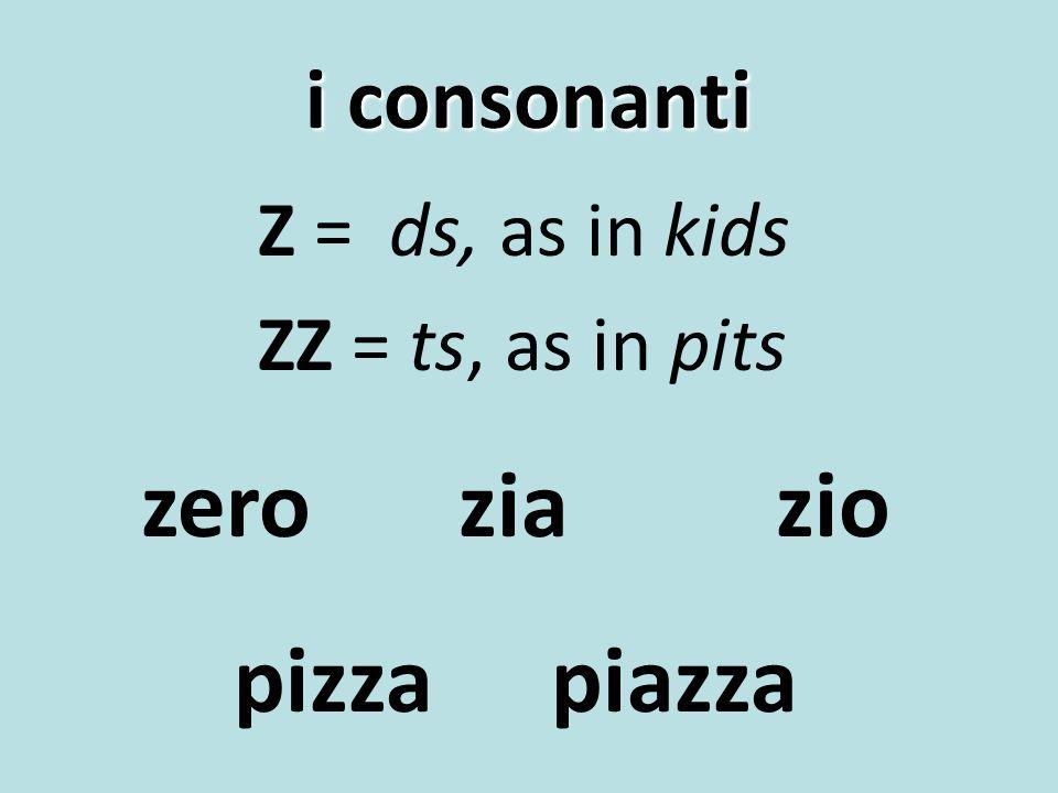 i consonanti Z = ds, as in kids ZZ = ts, as in pits zeroziazio pizzapiazza
