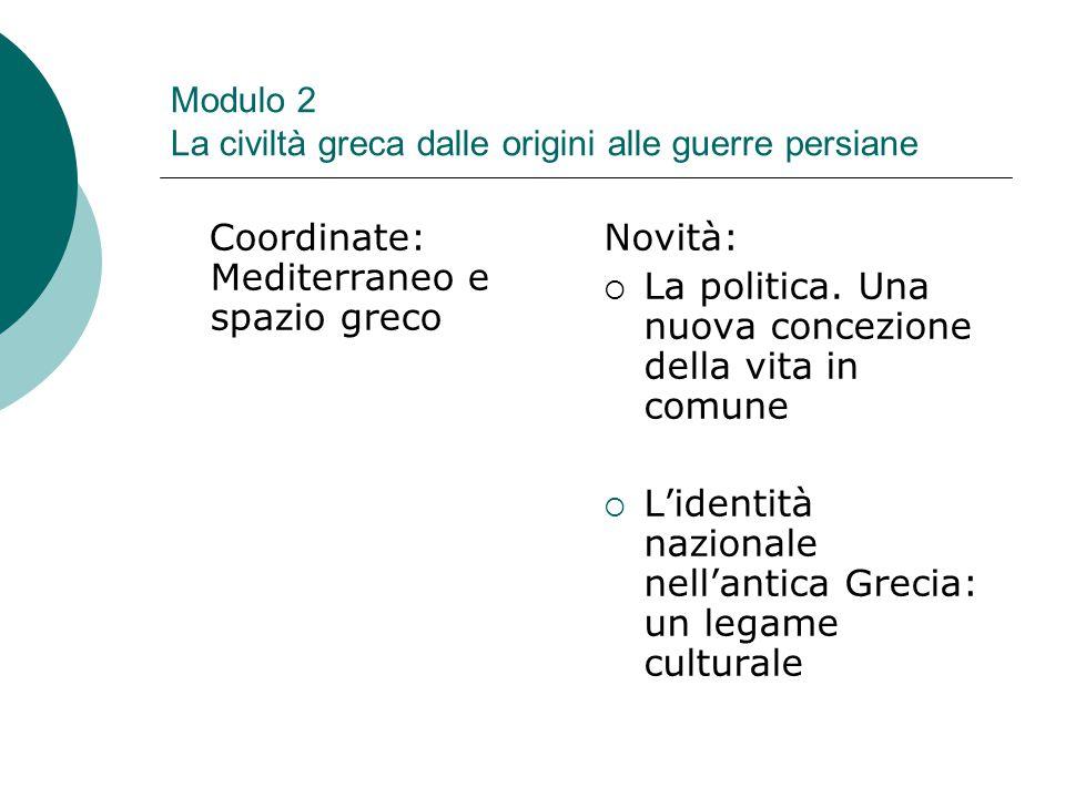 Modulo 2 La civiltà greca dalle origini alle guerre persiane Coordinate: Mediterraneo e spazio greco Novità:  La politica. Una nuova concezione della