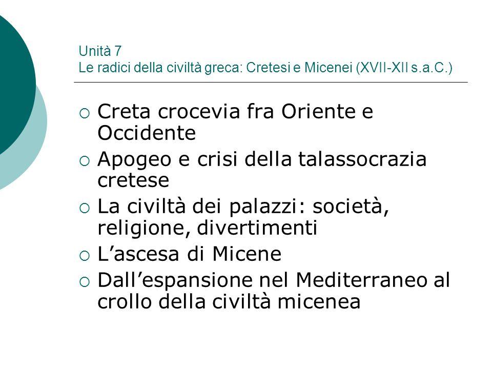 Unità 7 Le radici della civiltà greca: Cretesi e Micenei (XVII-XII s.a.C.)  Creta crocevia fra Oriente e Occidente  Apogeo e crisi della talassocraz