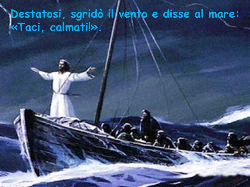 Destatosi, sgridò il vento e disse al mare: «Taci, calmati!».