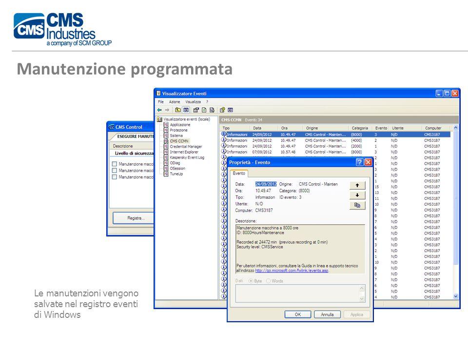 Manutenzione programmata Le manutenzioni vengono salvate nel registro eventi di Windows