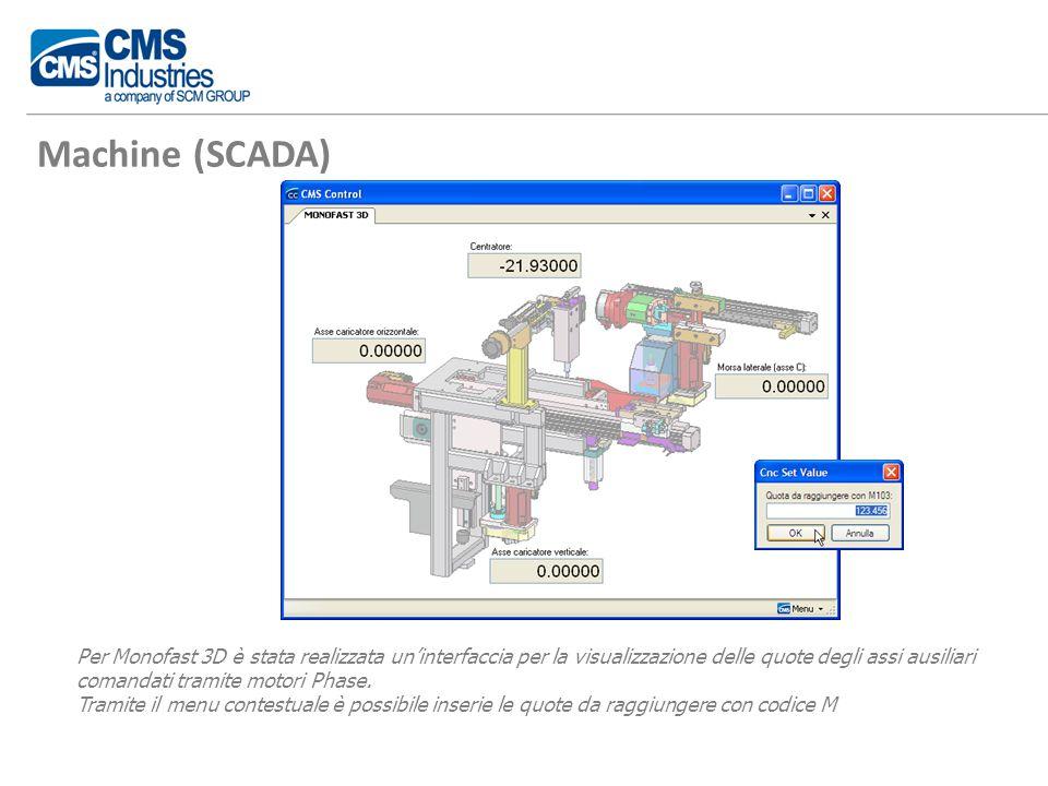 Machine (SCADA) Per Monofast 3D è stata realizzata un'interfaccia per la visualizzazione delle quote degli assi ausiliari comandati tramite motori Phase.