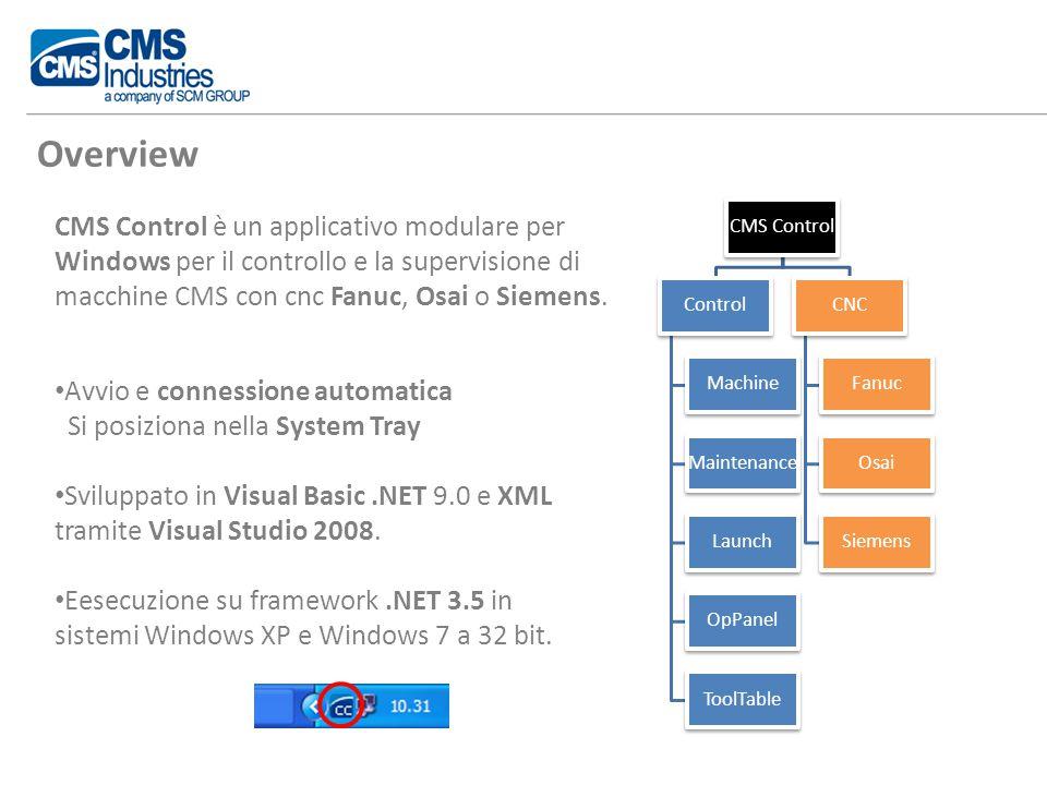 CMS Control è un applicativo modulare per Windows per il controllo e la supervisione di macchine CMS con cnc Fanuc, Osai o Siemens.
