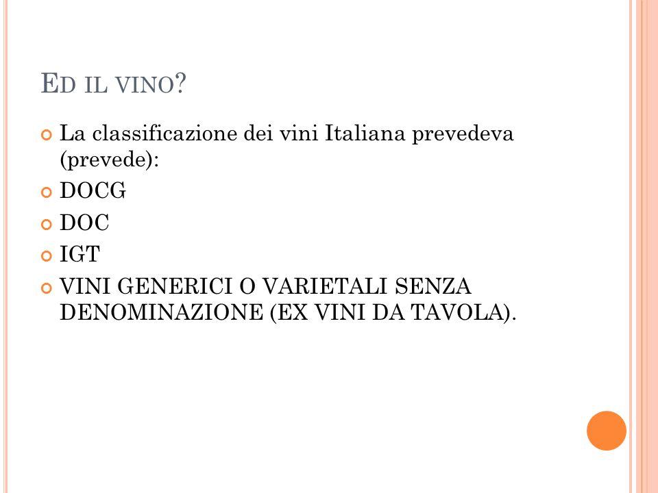 E D IL VINO ? La classificazione dei vini Italiana prevedeva (prevede): DOCG DOC IGT VINI GENERICI O VARIETALI SENZA DENOMINAZIONE (EX VINI DA TAVOLA)