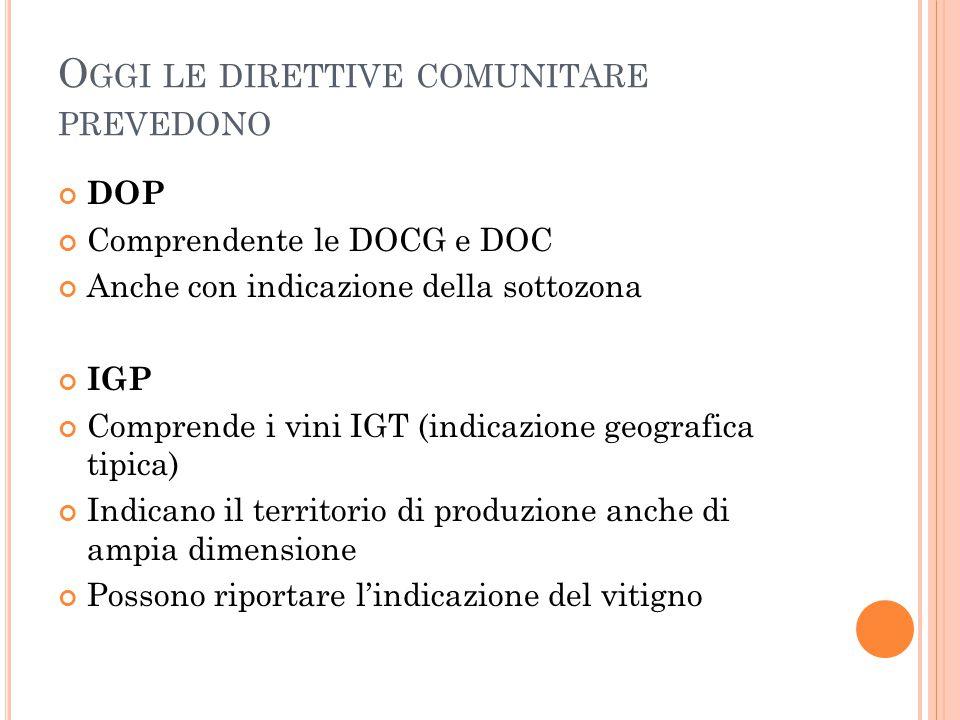 O GGI LE DIRETTIVE COMUNITARE PREVEDONO DOP Comprendente le DOCG e DOC Anche con indicazione della sottozona IGP Comprende i vini IGT (indicazione geo