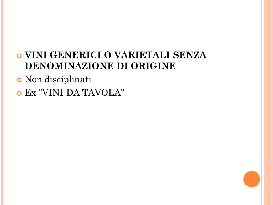 """VINI GENERICI O VARIETALI SENZA DENOMINAZIONE DI ORIGINE Non disciplinati Ex """"VINI DA TAVOLA"""""""