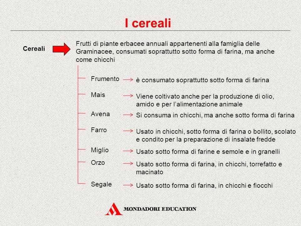 I cereali Cereali Frutti di piante erbacee annuali appartenenti alla famiglia delle Graminacee, consumati soprattutto sotto forma di farina, ma anche